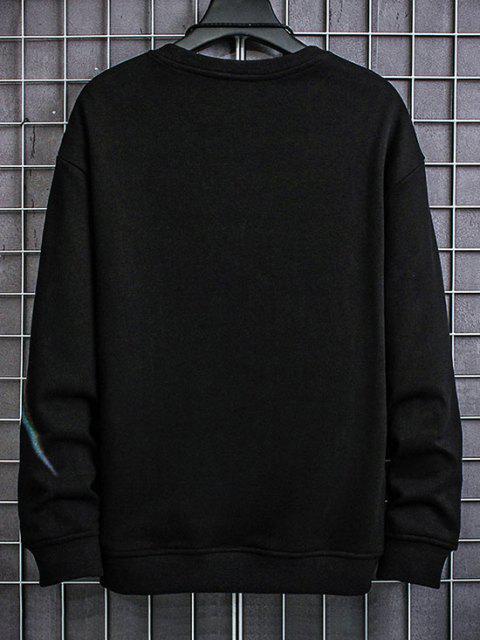 trendy Letter Aurora Print Crew Neck Sweatshirt - BLACK XS Mobile