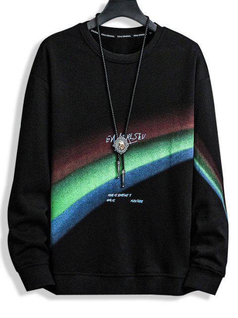 Sweatshirt mit Buchstaben Druck und Rundhalsausschnitt - Schwarz XS Mobile