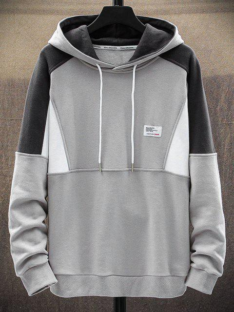 hot Letter Patch Colorblock Panel Raglan Sleeve Hoodie - GRAY S Mobile
