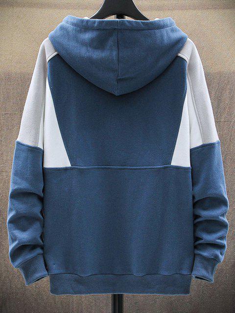 sale Letter Patch Colorblock Panel Raglan Sleeve Hoodie - BLUE L Mobile