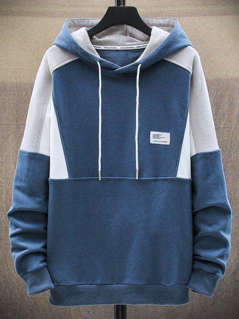 chic Letter Patch Colorblock Panel Raglan Sleeve Hoodie - BLUE XS Mobile