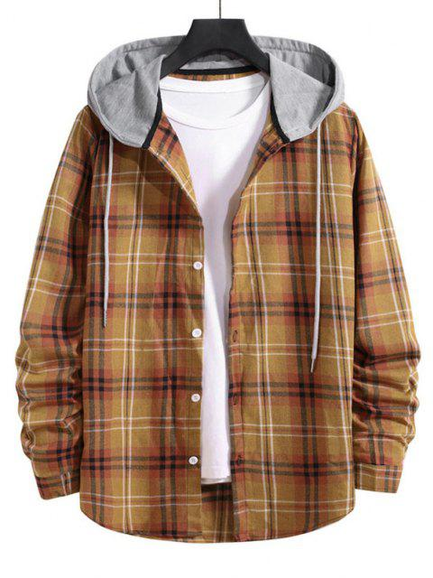 ladies Drawstring Plaid Print Button Up Hooded Shirt - BEE YELLOW S Mobile