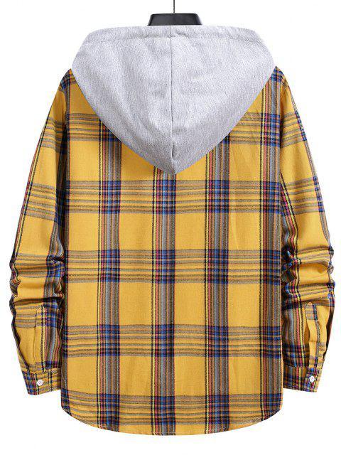 shops Hooded Plaid Print Curved Hem Drawstring Shirt - BRIGHT YELLOW L Mobile