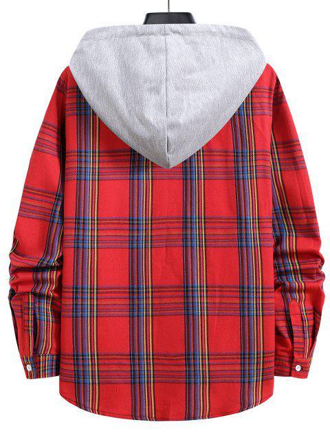 unique Hooded Plaid Print Curved Hem Drawstring Shirt - LAVA RED M Mobile