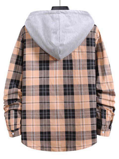 new Drawstring Plaid Print Button Up Hooded Shirt - APRICOT L Mobile