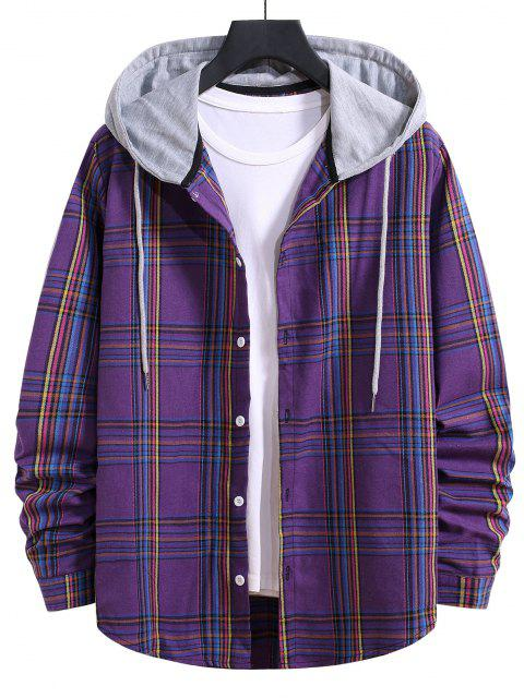 outfits Hooded Plaid Print Curved Hem Drawstring Shirt - PURPLE IRIS L Mobile