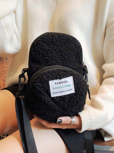 sale Cap Shape Fluffy Crossbody Bag - BLACK  Mobile