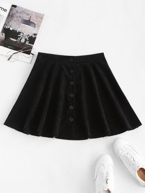 fancy Button Up Corduroy Mini Skirt - BLACK M Mobile