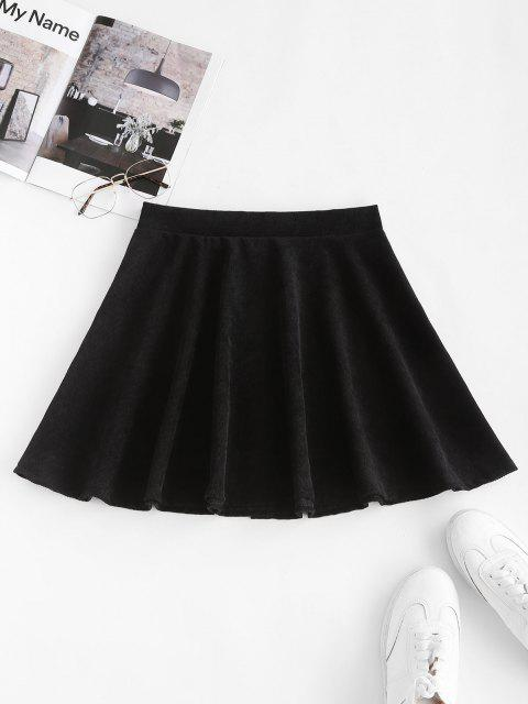 online Button Up Corduroy Mini Skirt - BLACK S Mobile