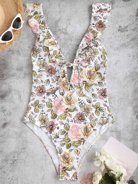 ZAFUL Plunging Flower One-piece Ruffle Swimsuit - وردي فاتح L Mobile