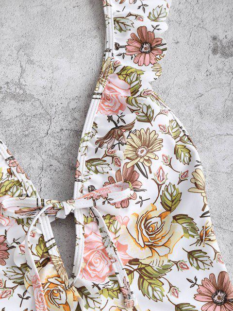 ZAFUL Maiô Plissado Vestido Plissado de Flores - Luz rosa L Mobile