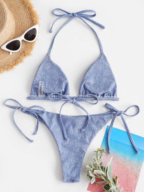 fashion ZAFUL Halter Denim Print Tie String Bikini Swimwear - LIGHT BLUE M Mobile