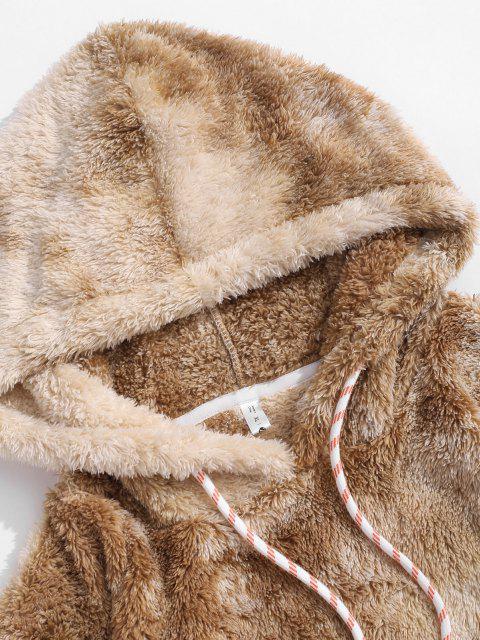latest Applique Detail Tie Dye Pattern Fluffy Hoodie - COFFEE XL Mobile