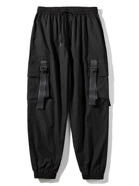 Pantalones de Carga con Correa Elástica de Hebilla de Cordón - Negro L Mobile