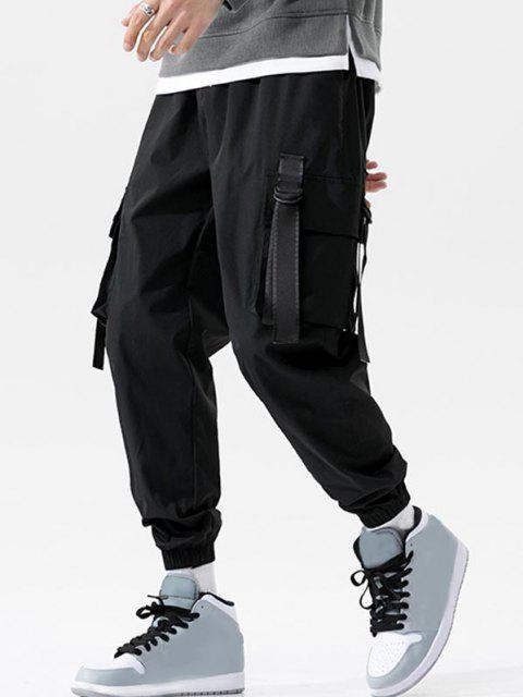 Pantalones de Carga con Correa Elástica de Hebilla de Cordón - Negro XL Mobile