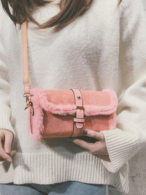 chic Faux Fur Trim Flap Crossbody Bag - PIG PINK  Mobile