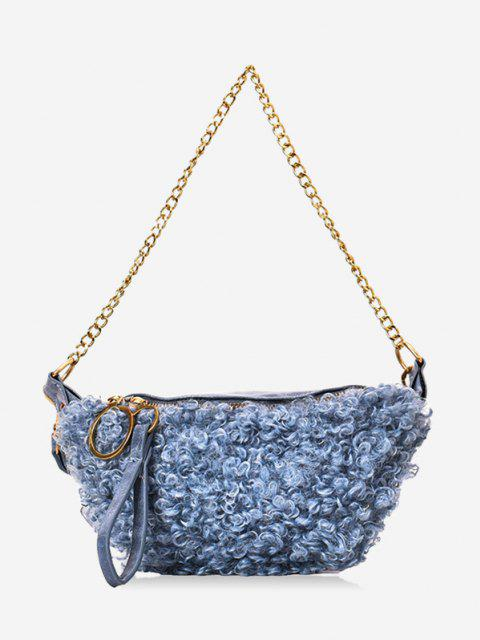 chic Faux Shearling Double Strap Fanny Pack - BLUE GRAY  Mobile