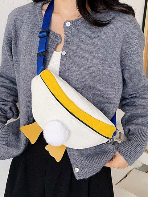 lady Colorblock Duck Design Canvas Chest Bag - NATURAL WHITE  Mobile