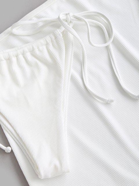 ZAFUL Biquíni Amarrado com Nervuras Três Peças - Branco M Mobile