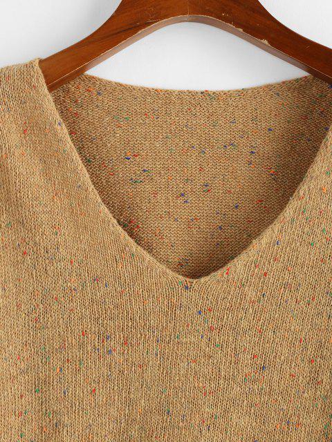 ZAFUL擦り切れ裾ドロップショルダーニットセーター紙ふぶき - カーキ M Mobile