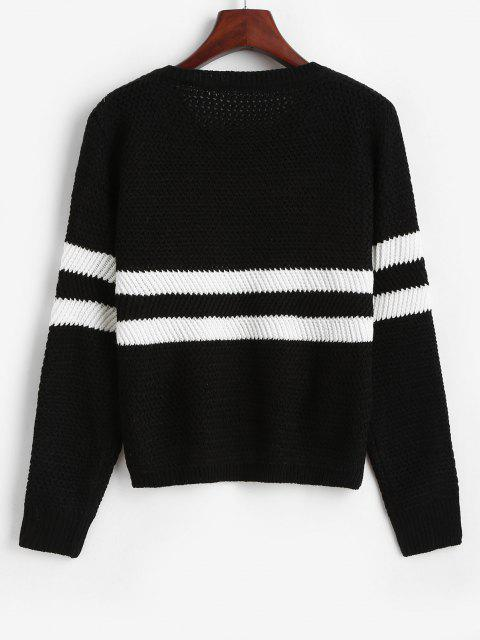 latest Two Tone Striped Drop Shoulder Sweater - BLACK ONE SIZE Mobile