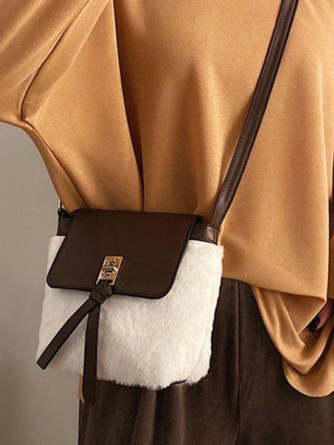 Faux Fur Patchwork Crossbody Bag - حليب ابيض  Mobile
