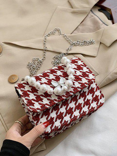 Butterfly Houndstooth Pattern Faux Pearl Bag - أحمر عميق  Mobile