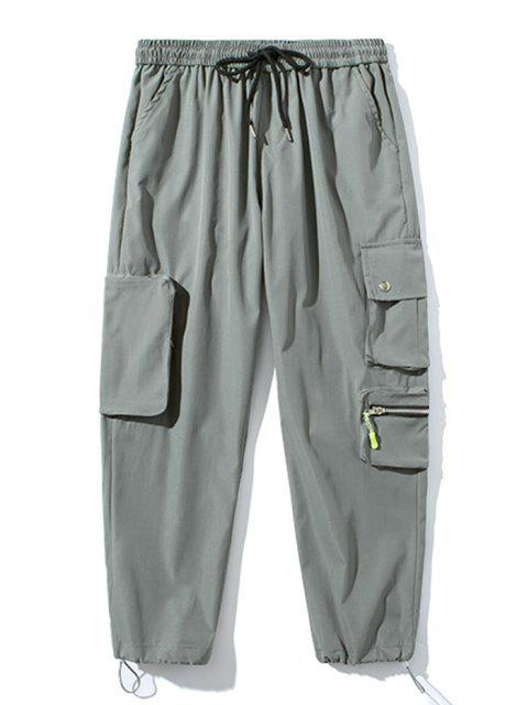 Pantalones de Carga con Bolsillo de Pecho con Cordón - Gris Claro XL Mobile