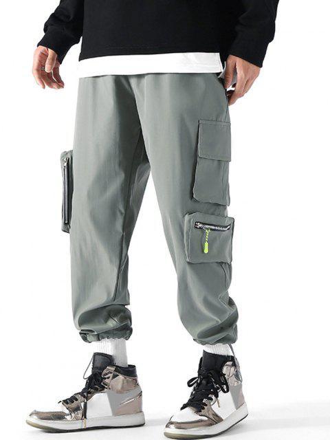 Pantalones de Carga con Bolsillo de Pecho con Cordón - Gris Claro M Mobile