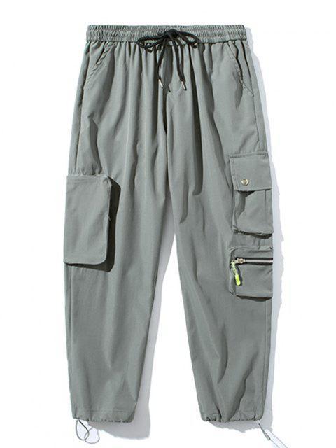 Pantalones de Carga con Bolsillo de Pecho con Cordón - Gris Claro S Mobile