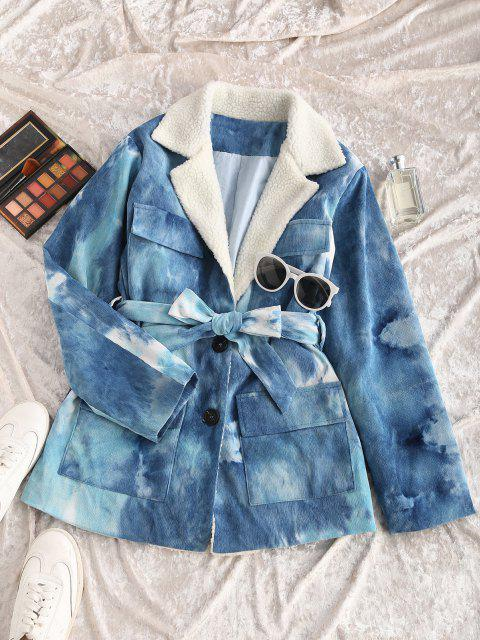 fashion Tie Dye Faux Shearling Collar Belted Corduroy Jacket - BLUE M Mobile
