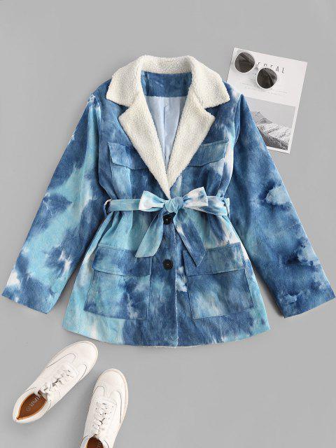 women's Tie Dye Faux Shearling Collar Belted Corduroy Jacket - BLUE S Mobile