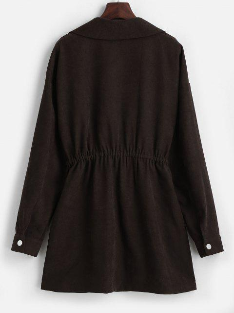 latest ZAFUL Snap Button Pockets Zip Up Long Coat - DEEP COFFEE M Mobile