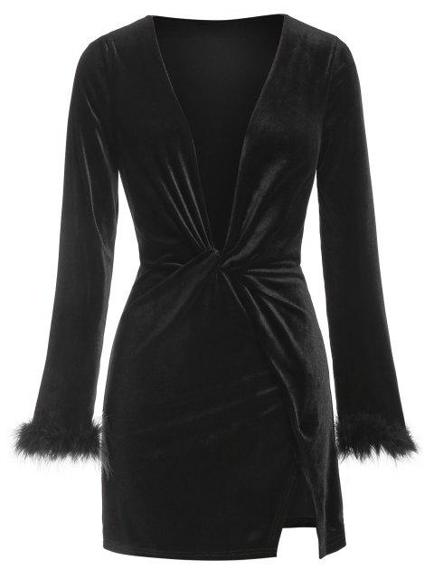 ladies ZAFUL Plunge Neck Fluffy Cuff Velour Dress - BLACK M Mobile