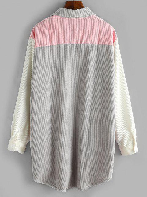 Corsé Largo de Pana con Bolsillo Frontal de Bloqueo de Color - Rosa claro S Mobile