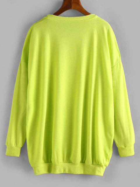 hot Crew Neck Graphic Front Oversize Sweatshirt - GREEN XL Mobile