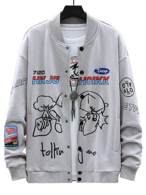 women's Letter Funny Pattern Graphic Patch Jacket - GRAY M Mobile