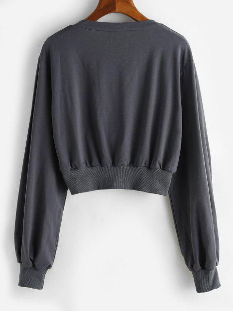 shop Ribbed Trim Square Neck Cropped Sweatshirt - DARK GRAY S Mobile