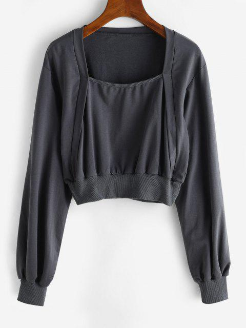 womens Ribbed Trim Square Neck Cropped Sweatshirt - DARK GRAY L Mobile
