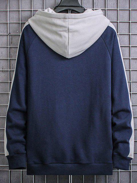 Veste à Capuche Lettre Imprimée en Blocs de Couleurs à Manches Raglan - Bleu S Mobile
