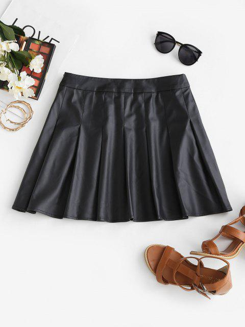 online ZAFUL Faux Leather Pleated Mini Skirt - BLACK M Mobile