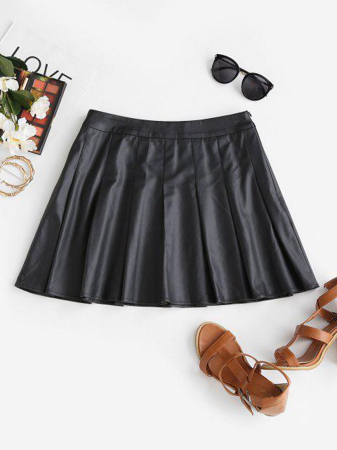 ladies ZAFUL Faux Leather Pleated Mini Skirt - BLACK S Mobile