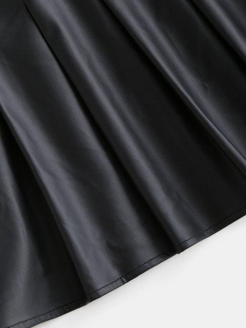 fancy ZAFUL Faux Leather Pleated Mini Skirt - BLACK XL Mobile