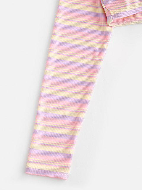 ZAFUL Verknotetes Streifen Geripptes Tiefer Crop Bikinis Top - Hell-Pink S Mobile