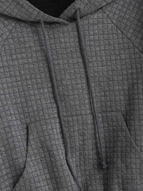 shop ZAFUL Raglan Sleeve Drawstring Front Pocket Hoodie - DARK GRAY L Mobile