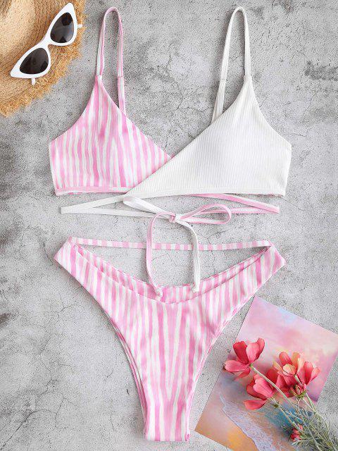 outfits ZAFUL Streak Dye Ribbed Brazilian Wrap Bikini Swimwear - LIGHT PINK S Mobile