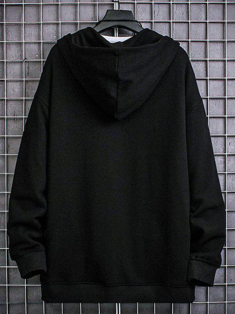 shops Letter Patched Pocket Zip Up Hooded Jacket - BLACK M Mobile