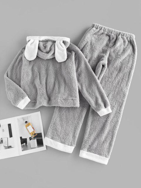 fancy ZAFUL Kangaroo Pocket Hooded Plush Colorblock Bunny Pajama Pants Set - DARK GRAY S Mobile