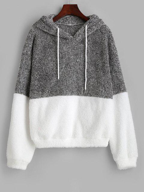 buy ZAFUL Drawstring Colorblock Heathered Fluffy Hoodie - LIGHT GRAY S Mobile