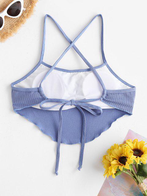 ZAFUL Haut de Bikini Court Côtelé à Ourlet en Laitue - Bleu M Mobile